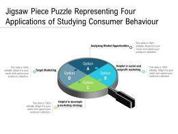 Jigsaw Piece Puzzle Representing Four Applications Of Studying Consumer Behaviour