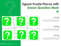 Jigsaw Puzzle Pieces With Green Question Mark