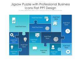 Jigsaw Puzzle With Professional Business Icons Flat PPT Design Infographic Template
