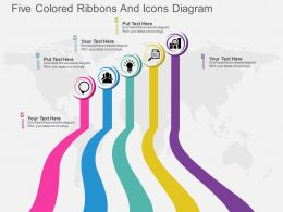 jj Five Colored Ribbons And Icons Diagram Flat Powerpoint Design