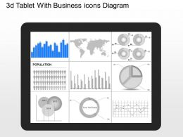 jk 3d Tablet With Business Icons Diagram Powerpoint Template