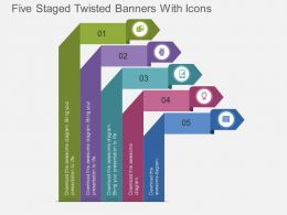 jk Five Staged Twisted Banners With Icons Flat Powerpoint Design