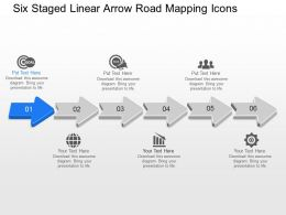 Jk Six Staged Linear Arrow Road Mapping Icons Powerpoint Template