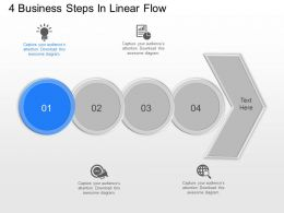 jl 4 Business Steps In Linear Flow Powerpoint Template
