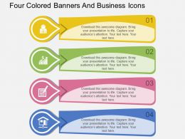 jl Four Colored Banners And Business Icons Flat Powerpoint Design