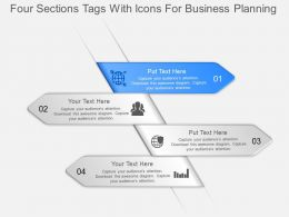 jl Four Sections Tags With Icons For Business Planning Powerpoint Template