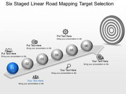 Jl Six Staged Linear Road Mapping Target Selection Powerpoint Template