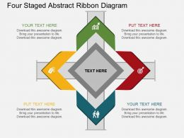 jm Four Staged Abstract Ribbon Diagram Flat Powerpoint Design