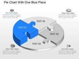 jm Pie Chart With One Blue Piece Powerpoint Template