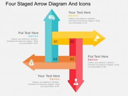 jn Four Staged Arrow Diagram And Icons Flat Powerpoint Design