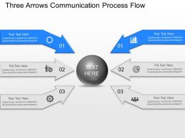 jn Three Arrows Communication Process Flow Powerpoint Template