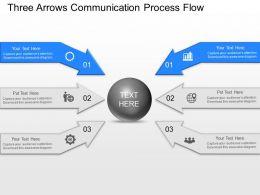 jn Three Arrows Communication Process Flow Powerpoint Template