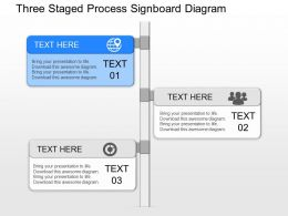 jn Three Staged Process Signboard Diagram Powerpoint Template