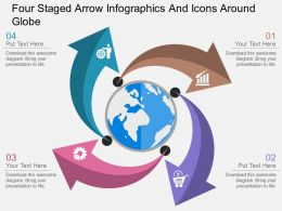 jo Four Staged Arrow Infographics And Icons Around Globe Flat Powerpoint Design