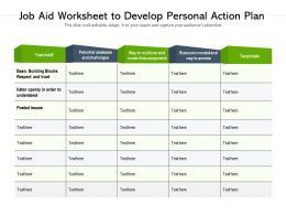Job Aid Worksheet To Develop Personal Action Plan