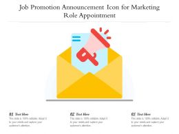 Job Promotion Announcement Icon For Marketing Role Appointment