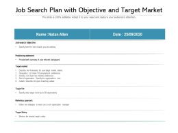Job Search Plan With Objective And Target Market