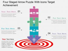 jp Four Staged Arrow Puzzle With Icons Target Achievement Flat Powerpoint Design