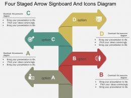 jq Four Staged Arrow Signboard And Icons Diagram Flat Powerpoint Design
