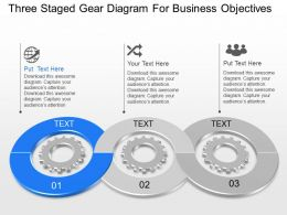 jr Three Staged Gear Diagram For Business Objectives Powerpoint Template