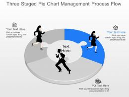 js Three Staged Pie Chart Management Process Flow Powerpoint Template