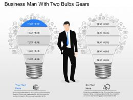 jt Business Man With Two Bulbs Gears Powerpoint Template