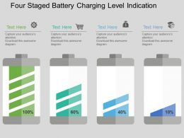 jt Four Staged Battery Charging Level Indication Flat Powerpoint Design