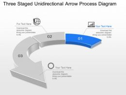 Jt Three Staged Unidirectional Arrow Process Diagram Powerpoint Template
