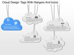 ju Cloud Design Tags With Hangers And Icons Powerpoint Template
