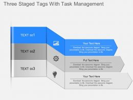 ju Three Staged Tags With Task Management Powerpoint Template
