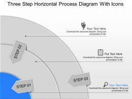 Ju Three Step Horizontal Process Diagram With Icons Powerpoint Template