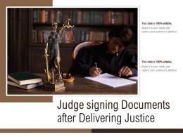 Judge Signing Documents After Delivering Justice