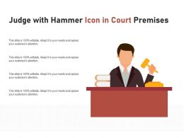 Judge With Hammer Icon In Court Premises