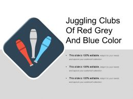 Juggling Clubs Of Red Grey And Blue Color