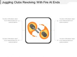 Juggling Clubs Revolving With Fire At Ends