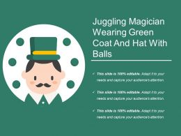 Juggling Magician Wearing Green Coat And Hat With Balls