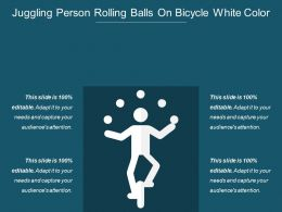 Juggling Person Rolling Balls On Bicycle White Color