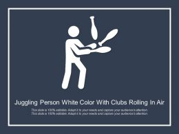 Juggling Person White Color With Clubs Rolling In Air