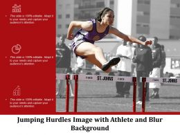 Jumping Hurdles Image With Athlete And Blur Background