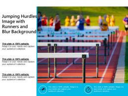Jumping Hurdles Image With Runners And Blur Background