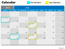 June 2013 Calendar PowerPoint Slides PPT templates