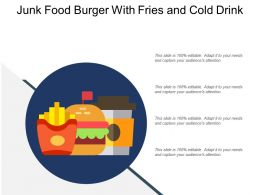 Junk Food Burger With Fries And Cold Drink