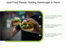 Junk Food Person Holding Hamburger In Hand