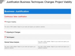 Justification Business Techniques Changes Project Viability