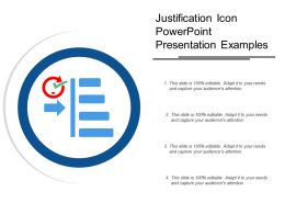 Justification Icon Powerpoint Presentation Examples