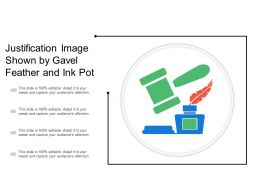 Justification Image Shown By Gavel Feather And Ink Pot
