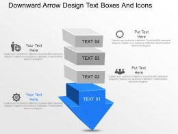 jv Downward Arrow Design Text Boxes And Icons Powerpoint Template