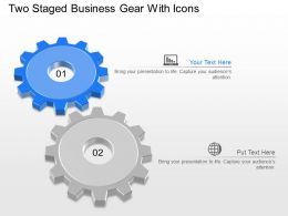 Jv Two Staged Business Gear With Icons Powerpoint Template
