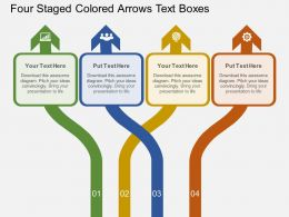 jw Four Staged Colored Arrows Text Boxes Flat Powerpoint Design