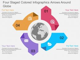 jx Four Staged Colored Infographics Arrows Around Globe Flat Powerpoint Design